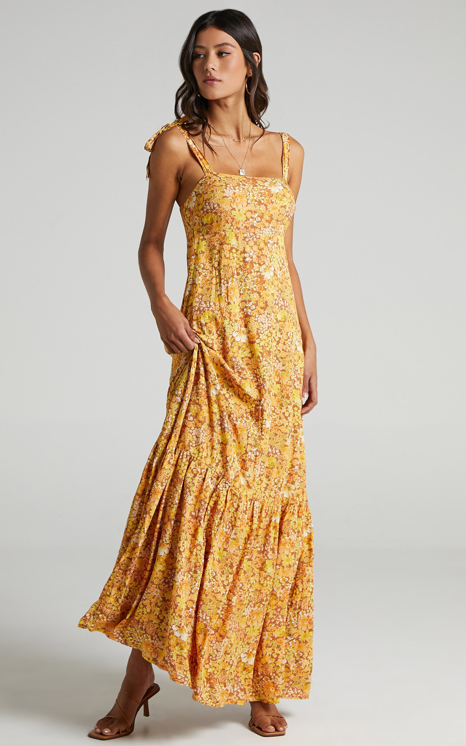 Honor Dress in Rustic Floral - 6 (XS), Mustard, super-hi-res image number null