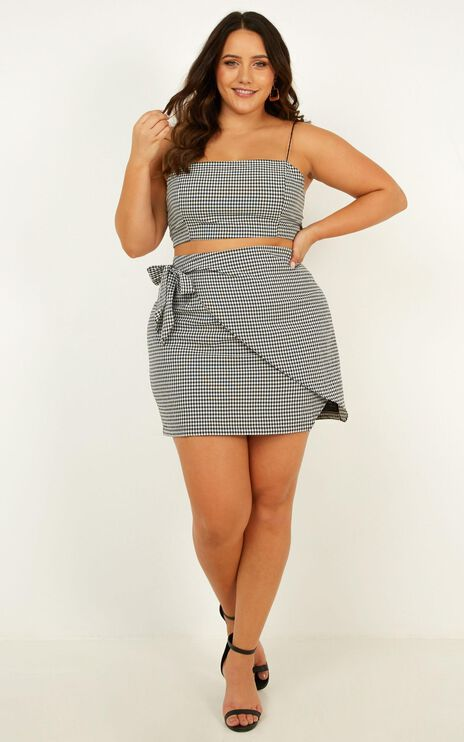 Keep On Turning Two Piece Set In Black Gingham
