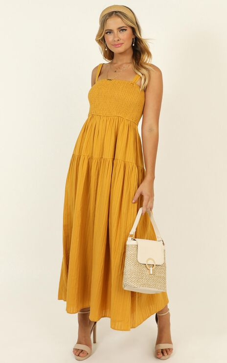 Carie Midi Dress In Mustard
