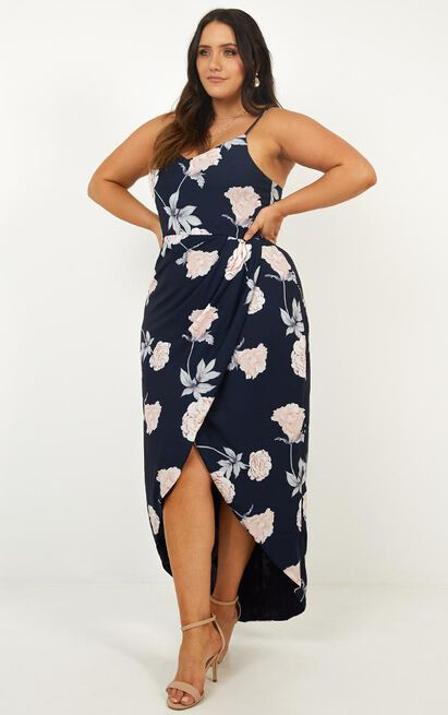 Just This Once Dress In Navy Floral - 4 (XXS), Navy, hi-res image number null