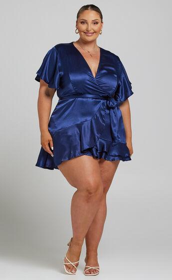 All I Want To Be Ruffle Mini Dress in Navy Satin