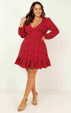Worlds Away Dress In Wine Polka