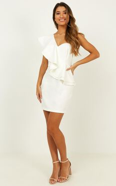 Model On Holiday Dress In White