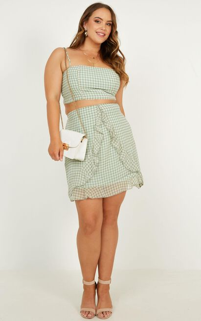 Likeminded Two Piece Set in sage gingham - 20 (XXXXL), Sage, hi-res image number null
