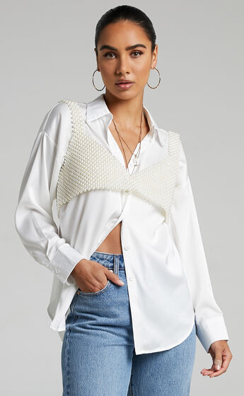 HOW ABOUT NOW PEARL BEADED TOP in Pearl