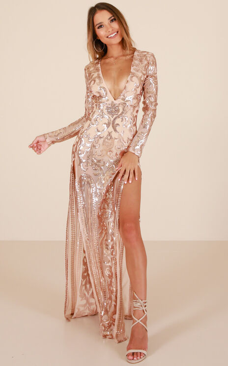 The Best Option Maxi Dress In Rose Gold Sequin