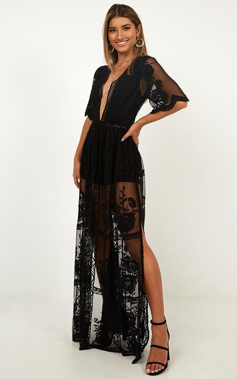 Midnight Hour Maxi Playsuit In Black