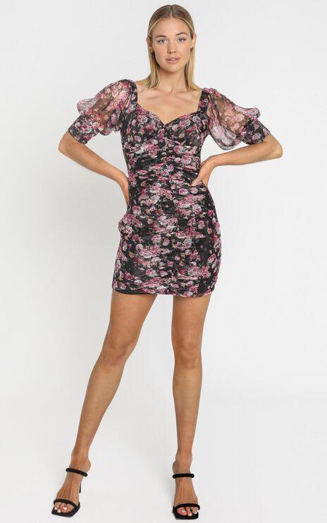 Rosey Short Sleeve Mini Dress In romantic black floral