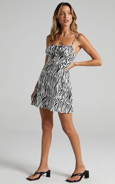 Barreta Dress in Monochrome Zebra