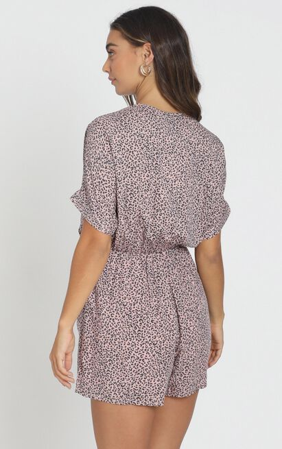 Ruthie Playsuit in pink leopard - 6 (XS), Pink, hi-res image number null