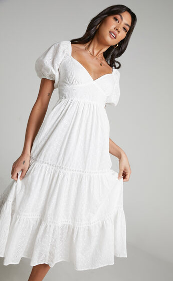 Yanny puff Sleeve Midi Dress with Shirred bust in White