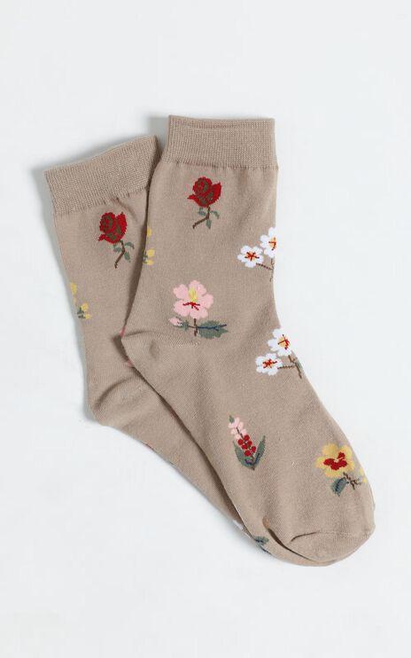 Vintage Flower Socks in Beige