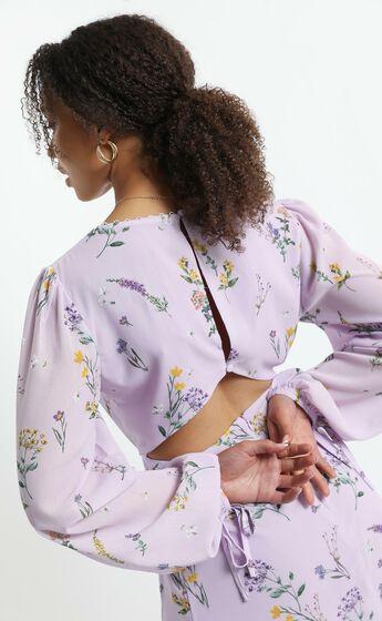 Andrea Long Sleeve Mini Dress in Lavender Botanical Floral
