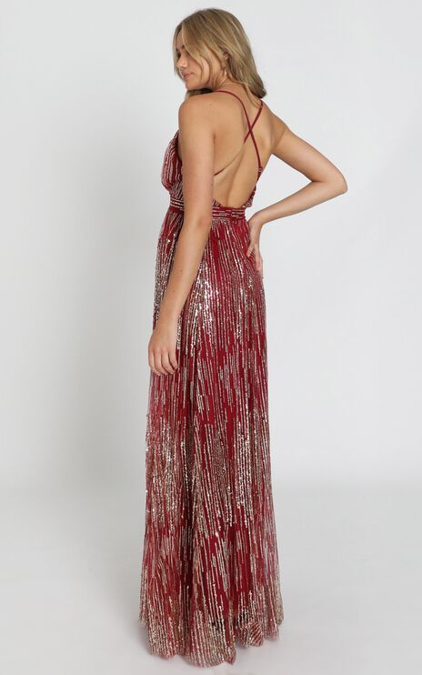 Breaking Rules Dress In Red Gold Glitter