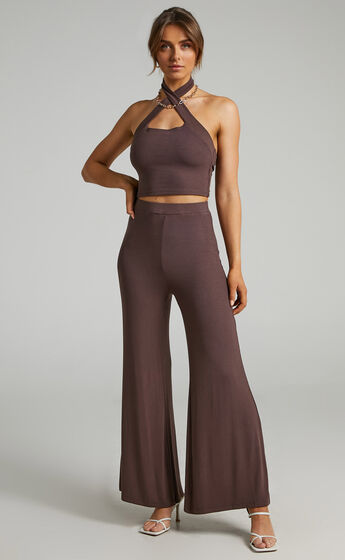 Sierrah Ribbed Two Piece Set in Chocolate