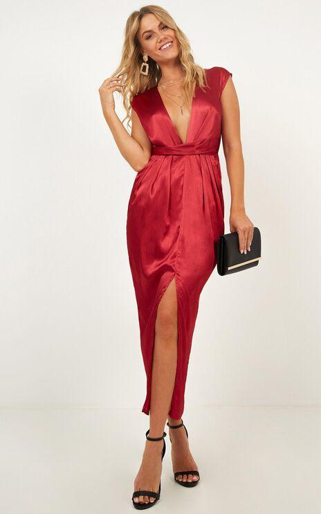 Dream Simply Dress In Wine Satin