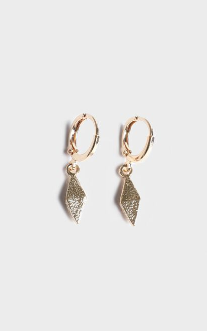 Giza Drop Hoop Earrings In Gold, , hi-res image number null