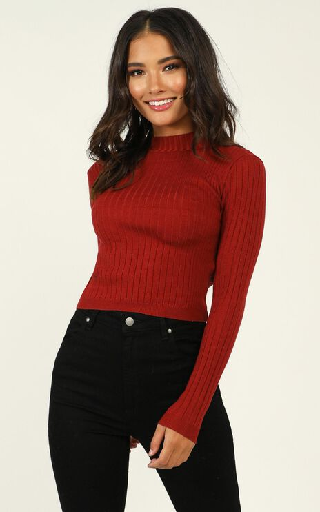 Downtown Dreams Knit Top in Wine