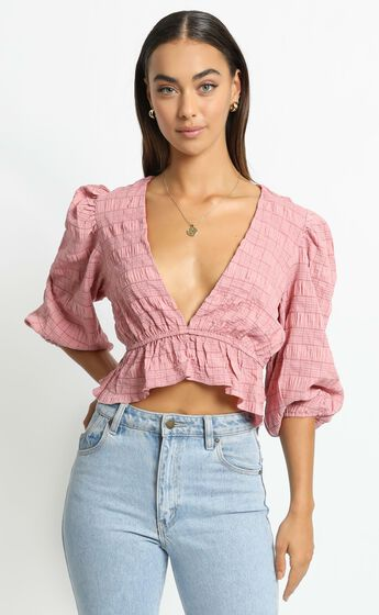 Sandee Top in Rose Check