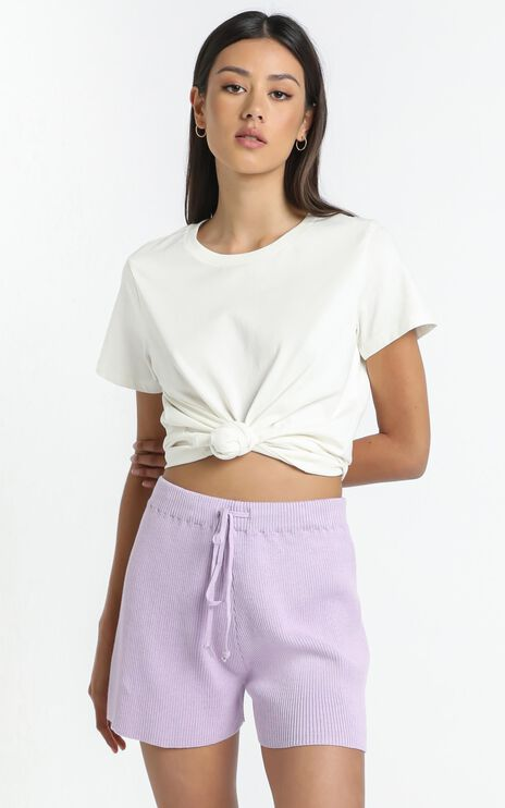 Lullaby Club - Alex Knit Shorts in Periwinkle