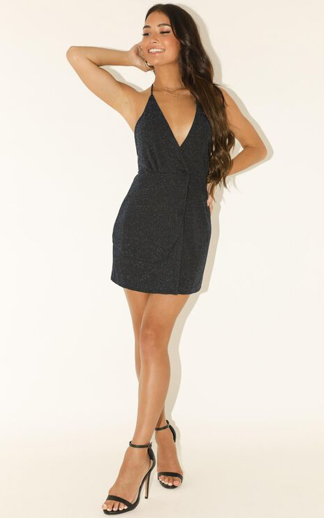 Lioness - Turn Heads Dress In Midnight Lurex
