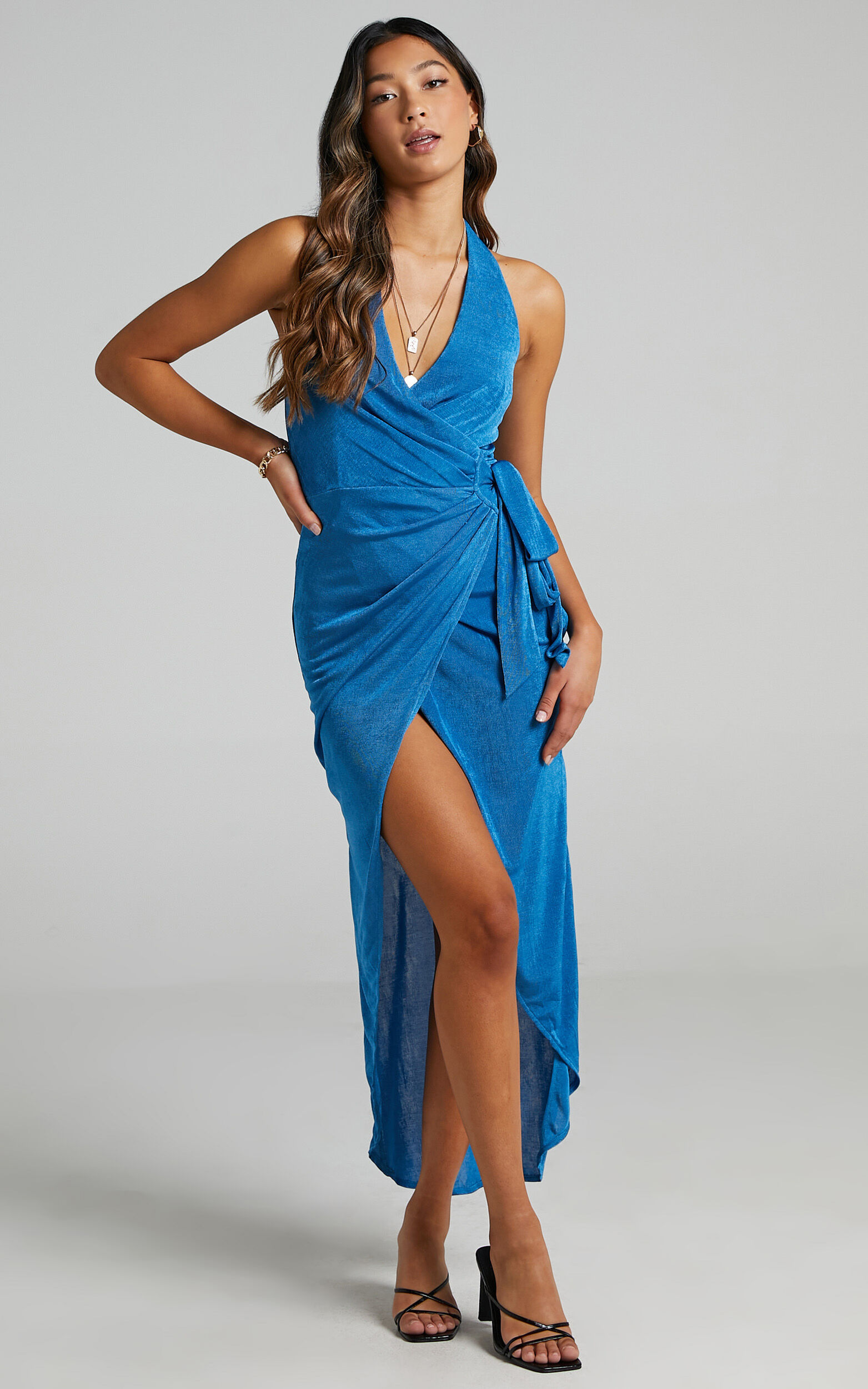 Tracee Halterneck Wrap Dress in Blue - 20, BLU1, super-hi-res image number null
