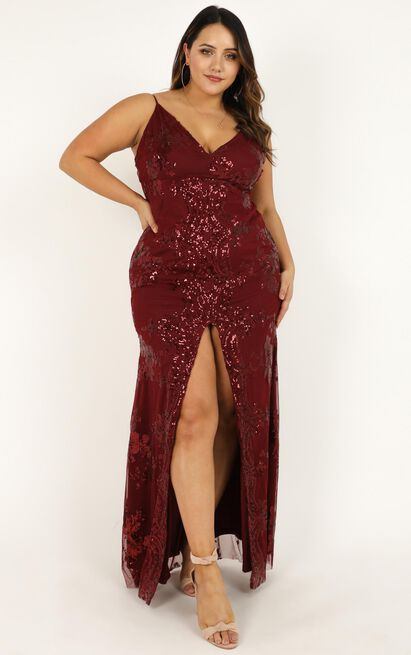 Long Line Of Love Dress in wine sequin - 20 (XXXXL), Wine, hi-res image number null