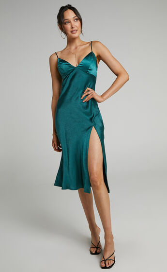 Joahanna Satin Slip Dress in Emerald