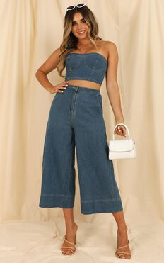 Make This Easy Denim Two Piece Set In Mid Blue Wash