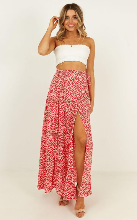 Break A Leg Maxi Skirt In Red Floral