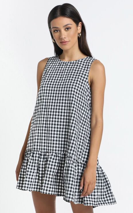 Maha Dress in Black Check
