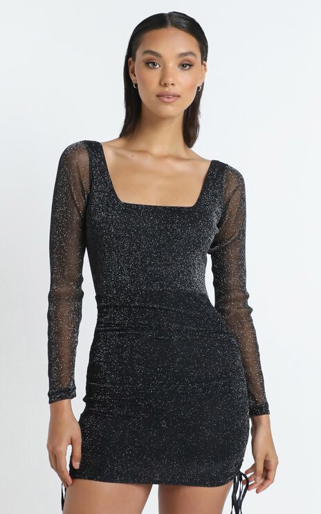 Want To See What You Got Dress in Black Mesh Lurex
