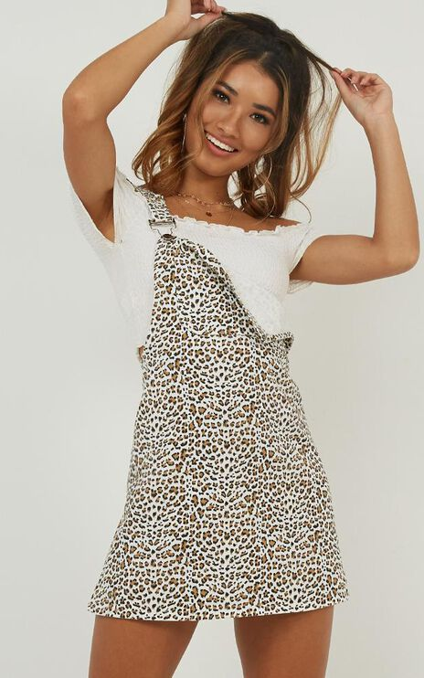 Knocked Out Denim Dress In Leopard Print