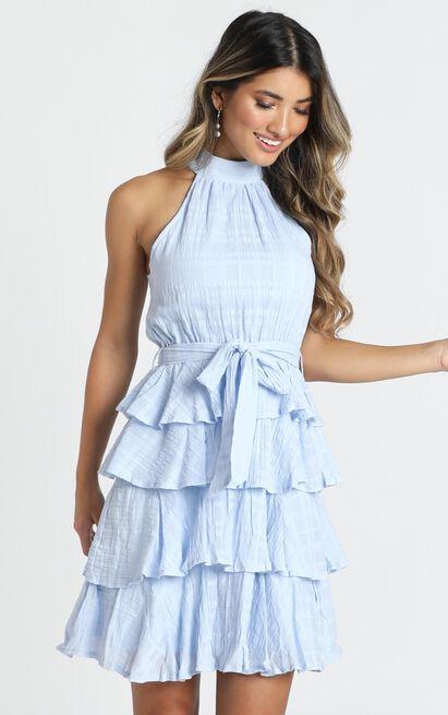 Blythe High Neck Mini Dress in dusty blue - 12 (L), Blue, hi-res image number null