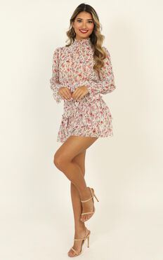 Strolling The Streets Dress In White Floral