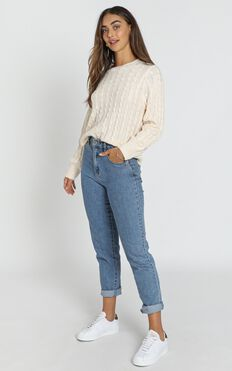 Sydney Cable Knit Jumper In Almond