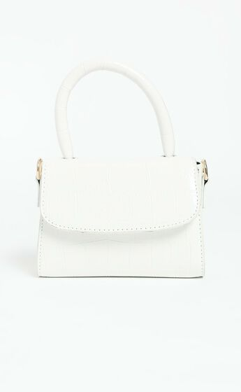 Halfway There Bag In White Croc