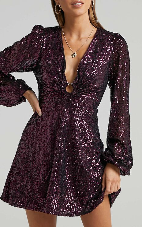 Liza Mini Dress in plum sequin