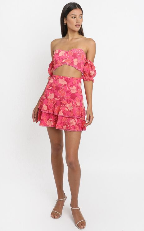 Final Resort Two Piece Set In Berry Floral