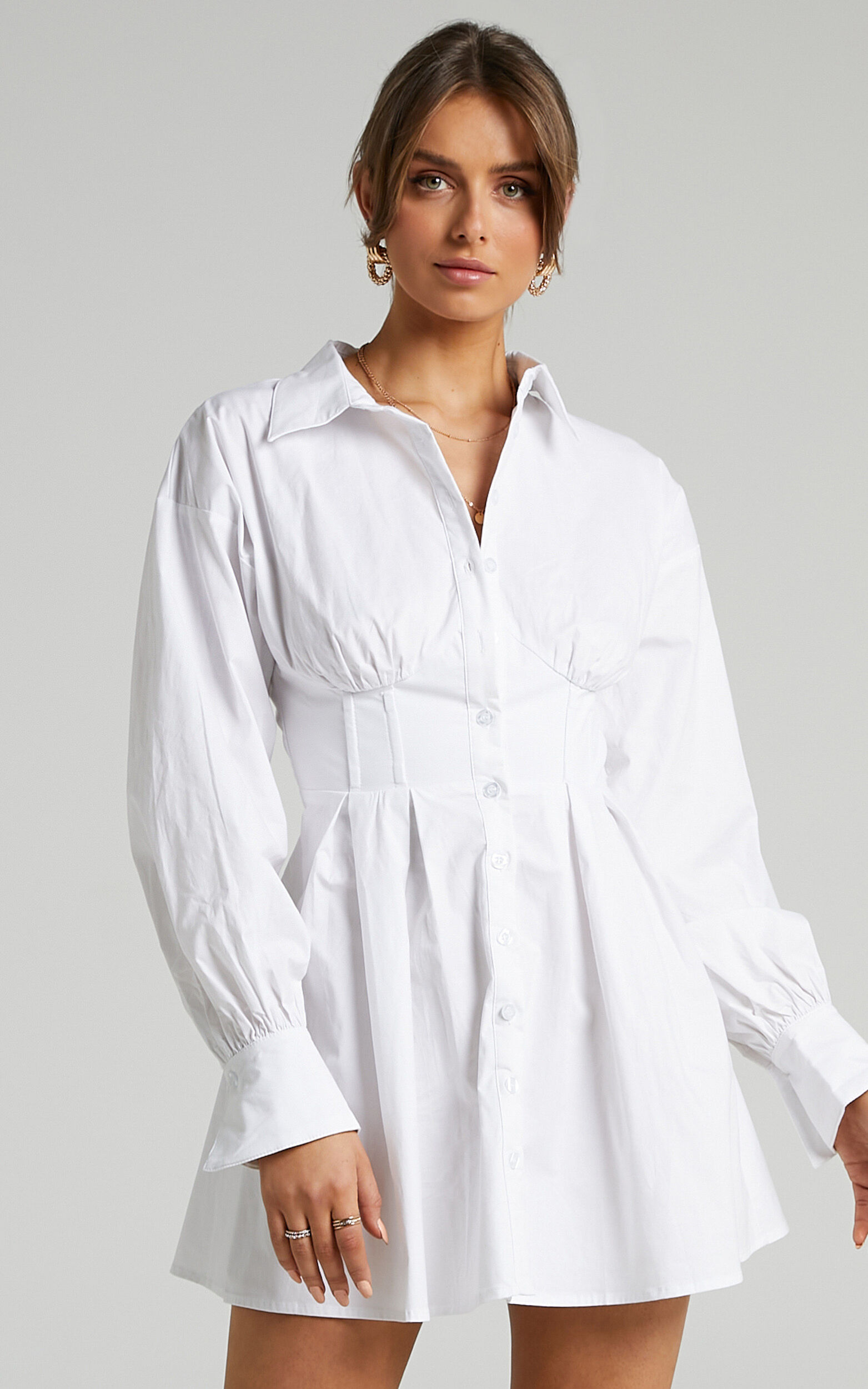 Claudette Collared Button Up Corset Dress in White - 06, WHT2, super-hi-res image number null