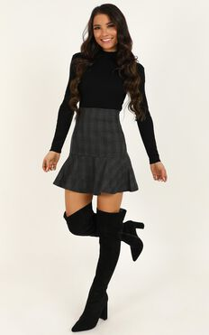 Get Moving Skirt In Black Check