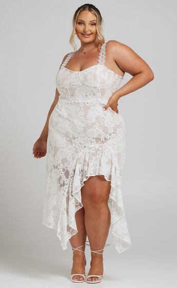 Leurah Sweetheart Aysmmetric Midi Dress in White Lace