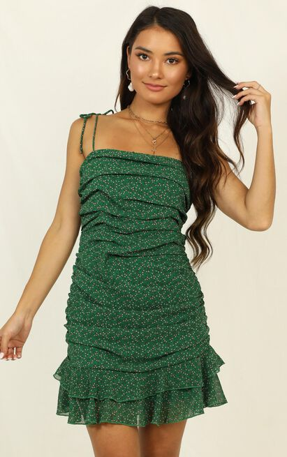 Crossing Borders dress in green floral - 10 (M), Green, hi-res image number null