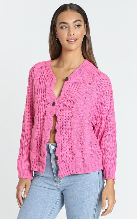 Kenadie Cardigan in Hot Pink