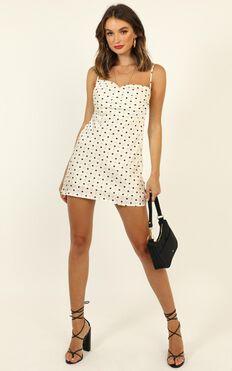 Melting Away Dress In Cream Spot Satin