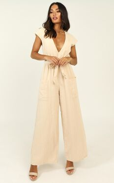 Like A Super Power Jumpsuit In Cream