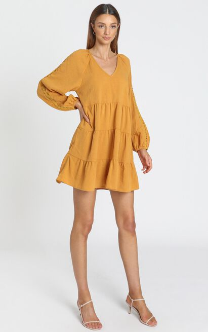 Lilith Dress in mustard - 8 (S), Mustard, hi-res image number null