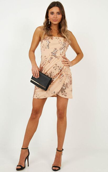 Dancing All Night Dress in rose gold sequin - 14 (XL), Rose Gold, hi-res image number null