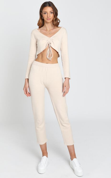 Neutral Hues Knit Pants in Beige
