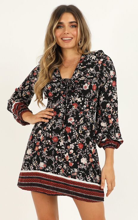 Thinking about Holidays Dress in Black Floral